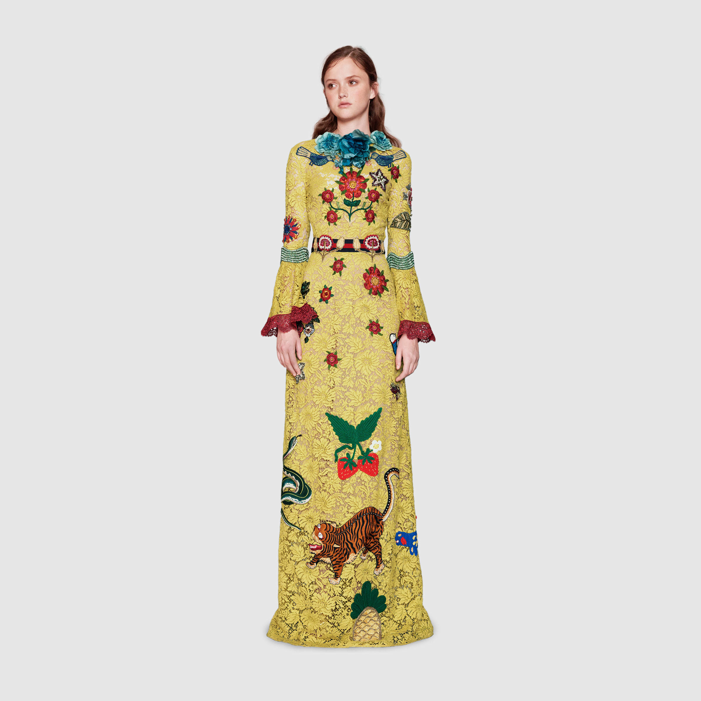 GUCCI Size 4 Yellow Beaded Patch Embellished Lace Cruise 2016 Gown ...