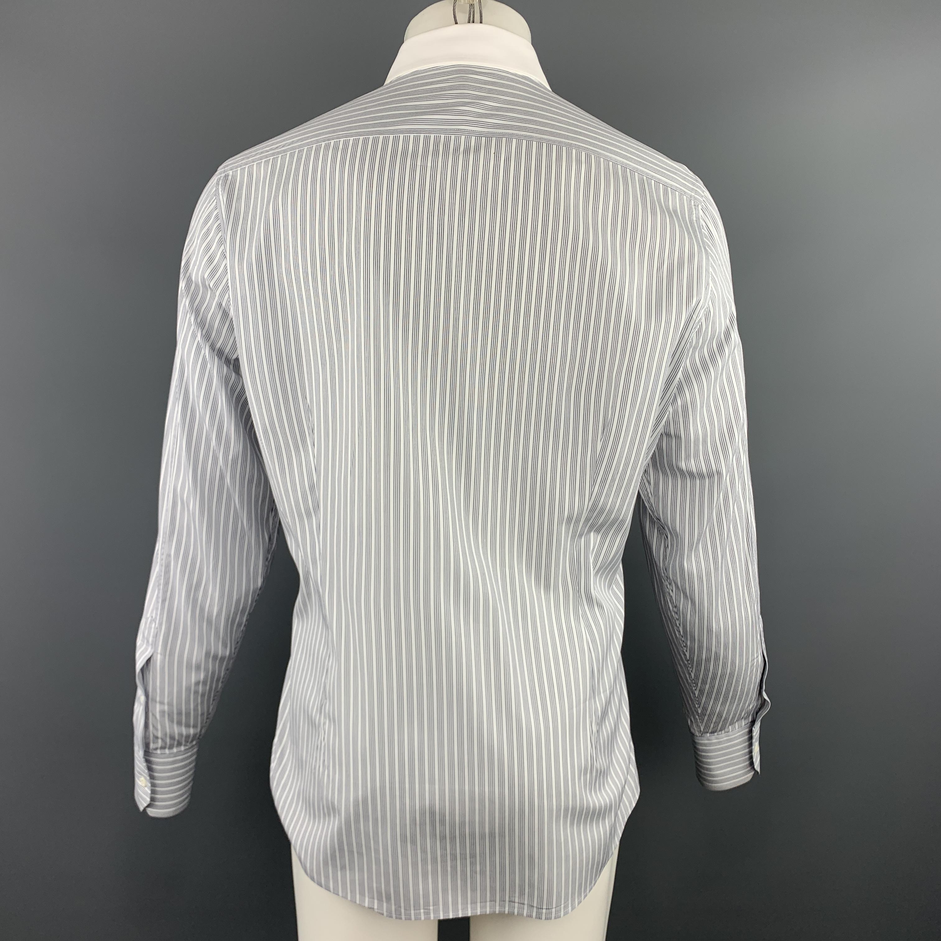 4044194e3 GUCCI Size XL White & Black Stripe Cotton Button Up Long Sleeve Shirt