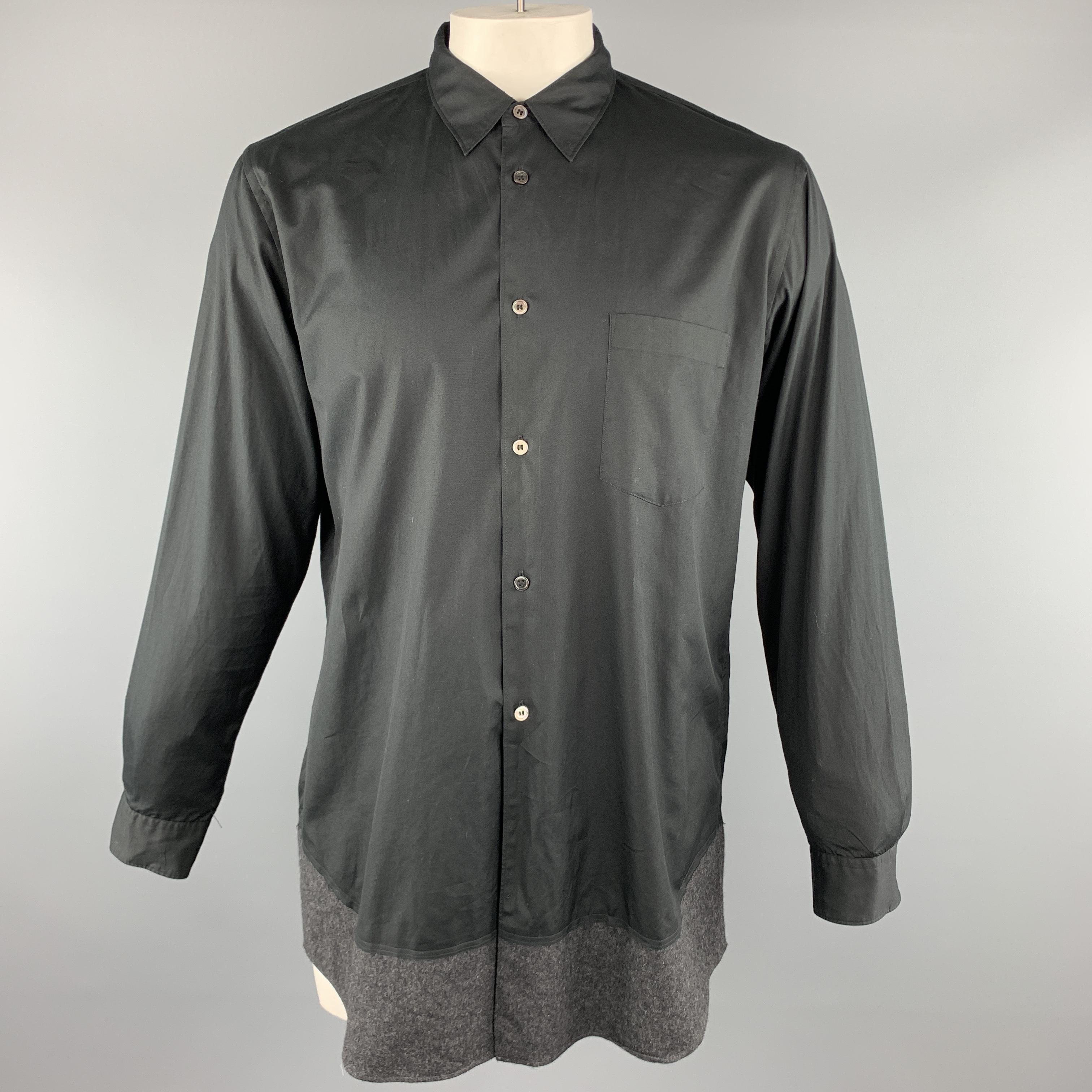 the best attitude 66e72 bf1f0 Details zu Comme des Garcons Homme Plus Größe L Schwarz Baumwolle Geknöpft  Langärmelig Hemd
