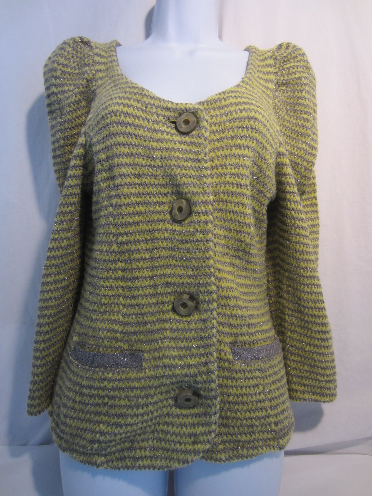 MOTH Anthropologie yellow gray striped knit cardigan sweater top M ...