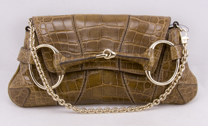 83366391d9fb0b GUCCI Brown crocodile flap bag clutch with horsebit trim NWT RETAIL $11,330