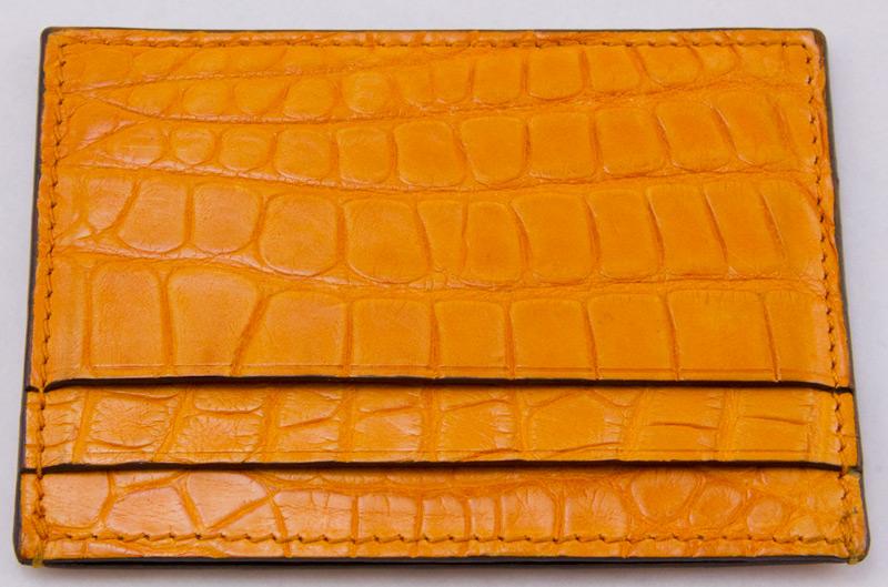 2da5c16174f GUCCI Orange embossed leather mock croc four inch credit card holder ...
