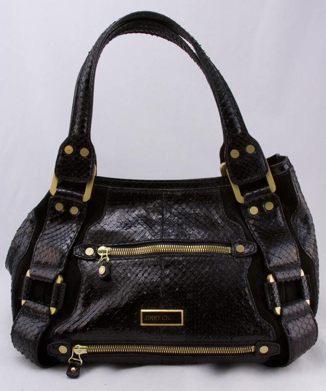 2a1e01e3ab JIMMY CHOO Black python double strap shoulder bag with gold hardware ...