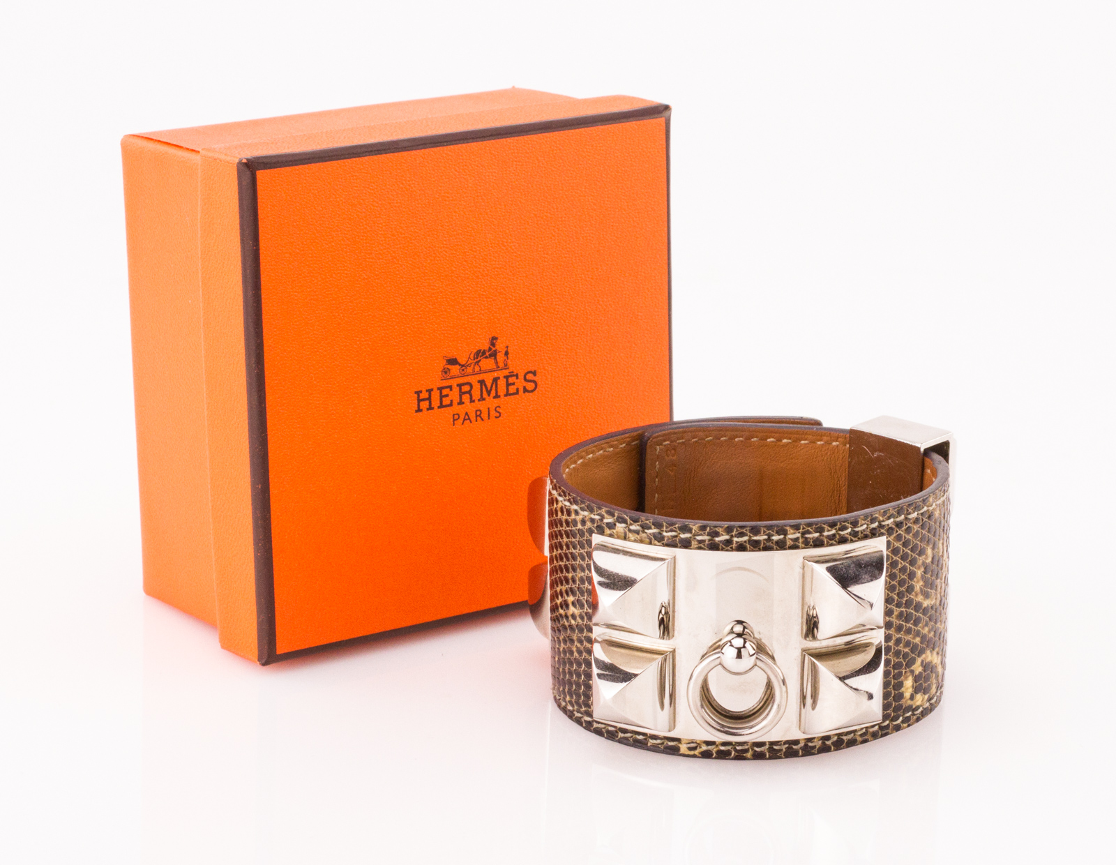 Details about HERMES Black and White Lizard Skin Palladium Collier De Chien Bracelet