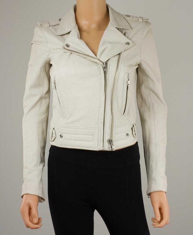 IRO Cream Leather Zip Up Motorcycle Jacket w/ Rayon Lining Size 36 ...