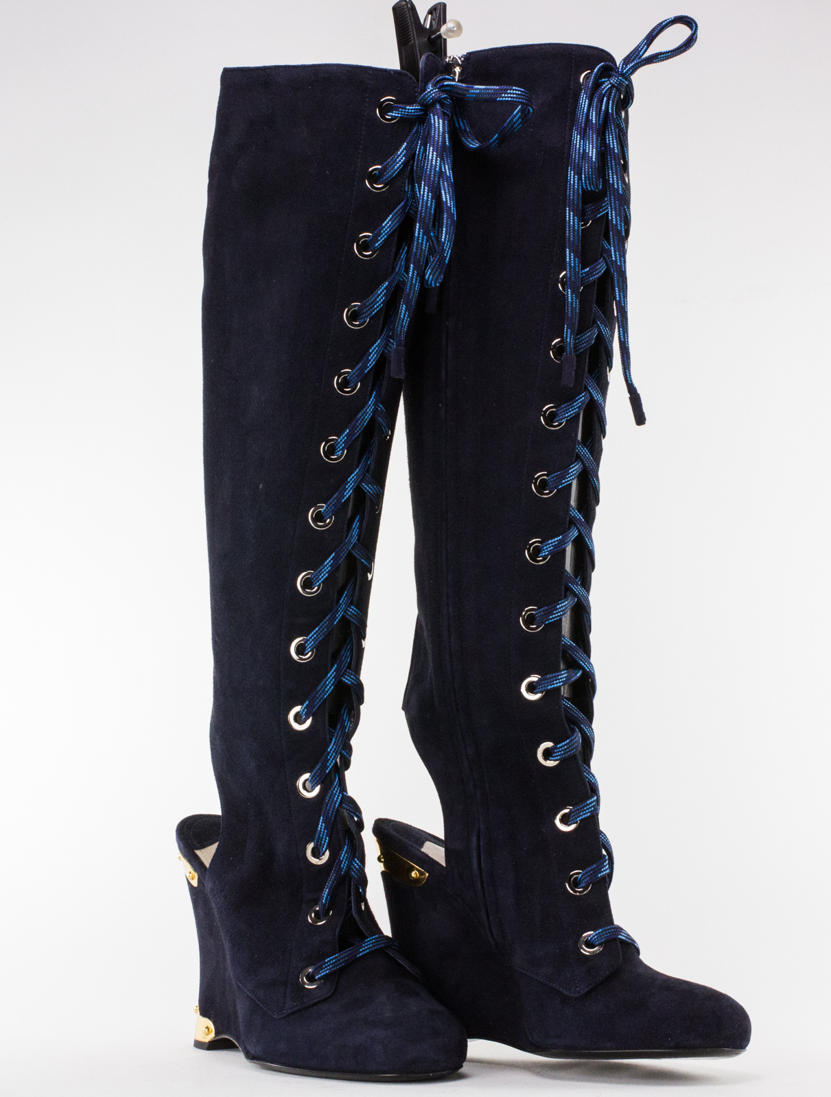 ecb43a0a Details about PRADA Navy Suede Lace up Knee High Boots