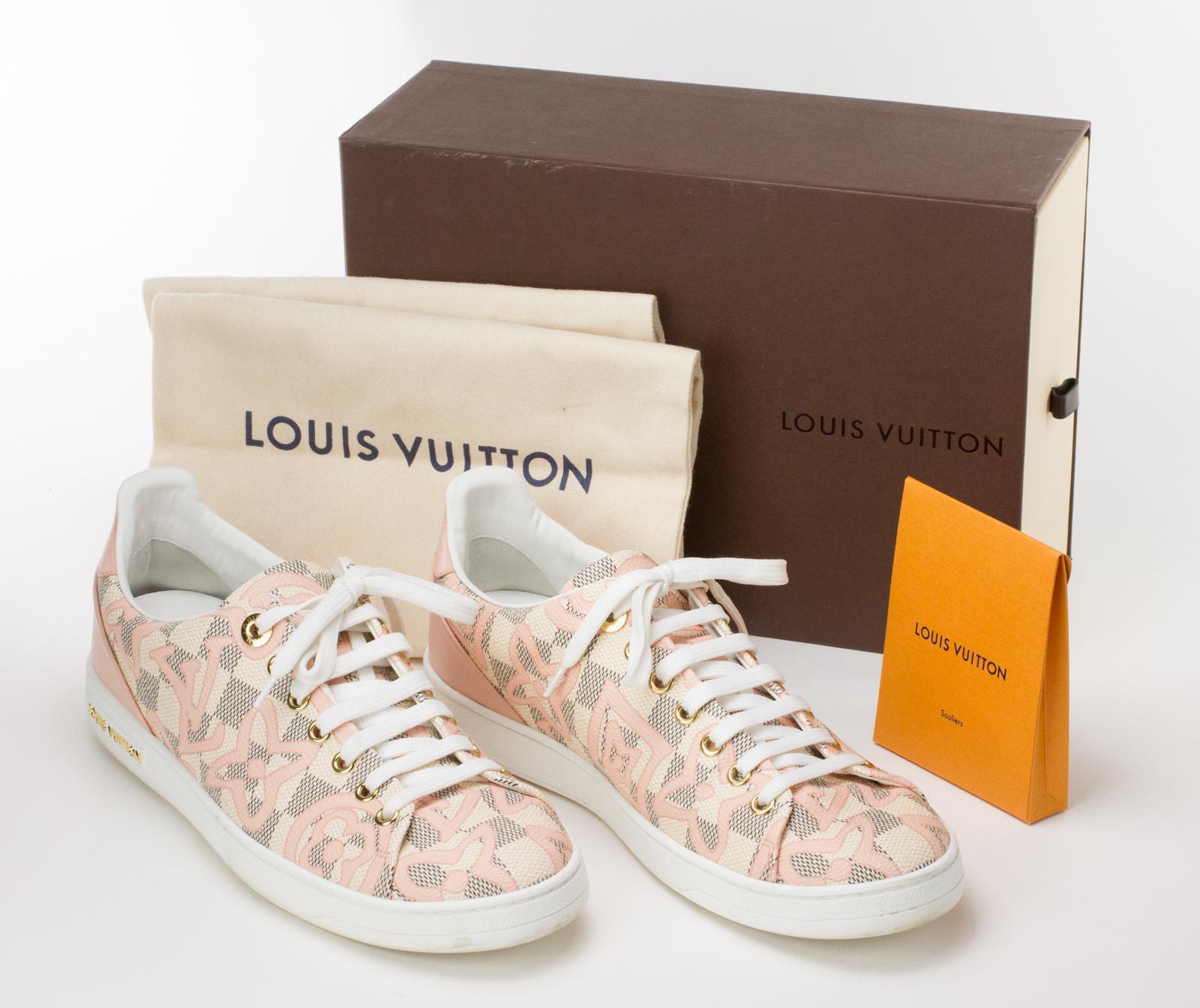 f8c223c4b51c LOUIS VUITTON Pink Cream   White Damier Azur Tahitienne Bora Bora Sneakers