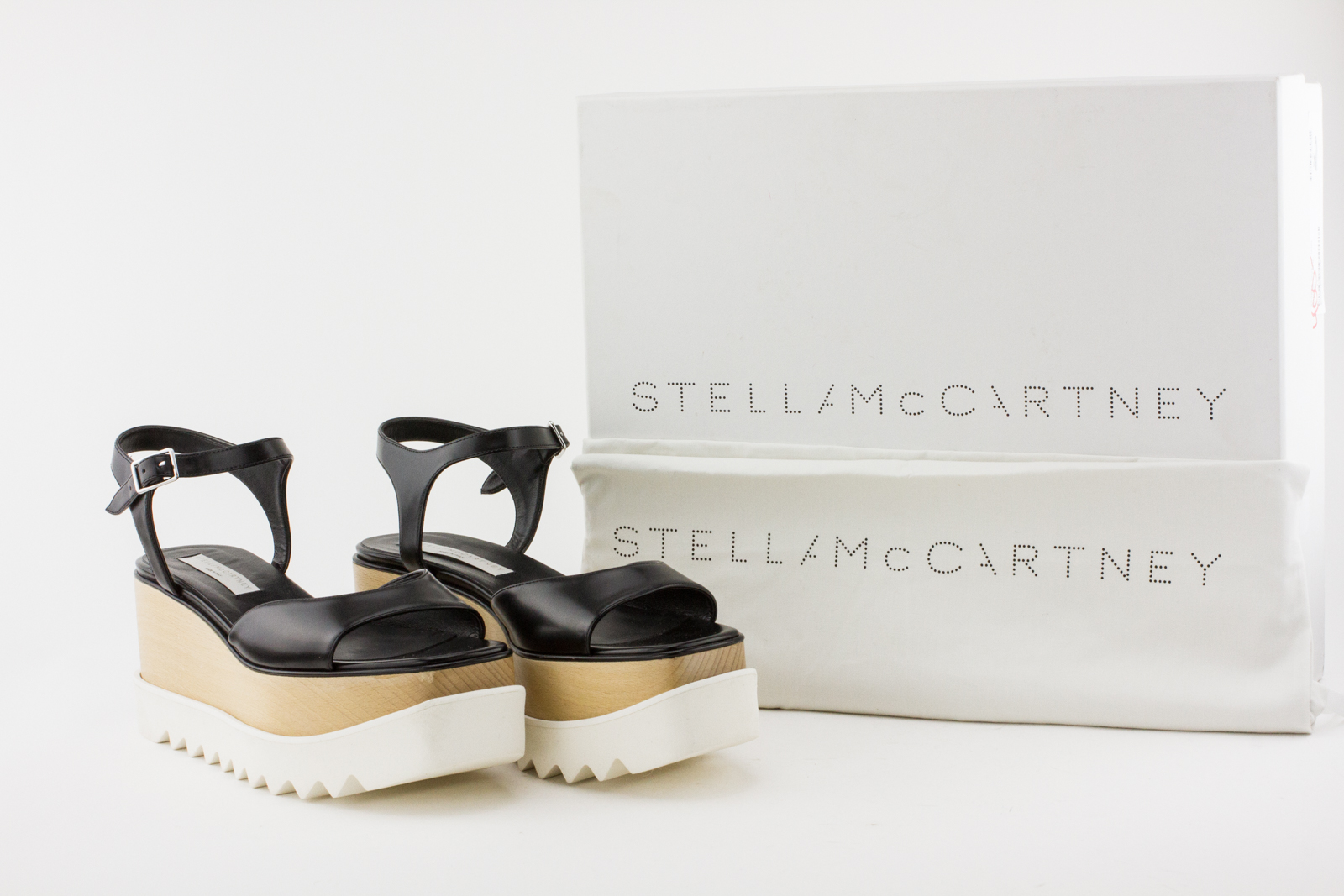 fdd67e5a106 STELLA MCCARTNEY Black Leather Platform Sandals with Wood Accent and Rubber  Sole