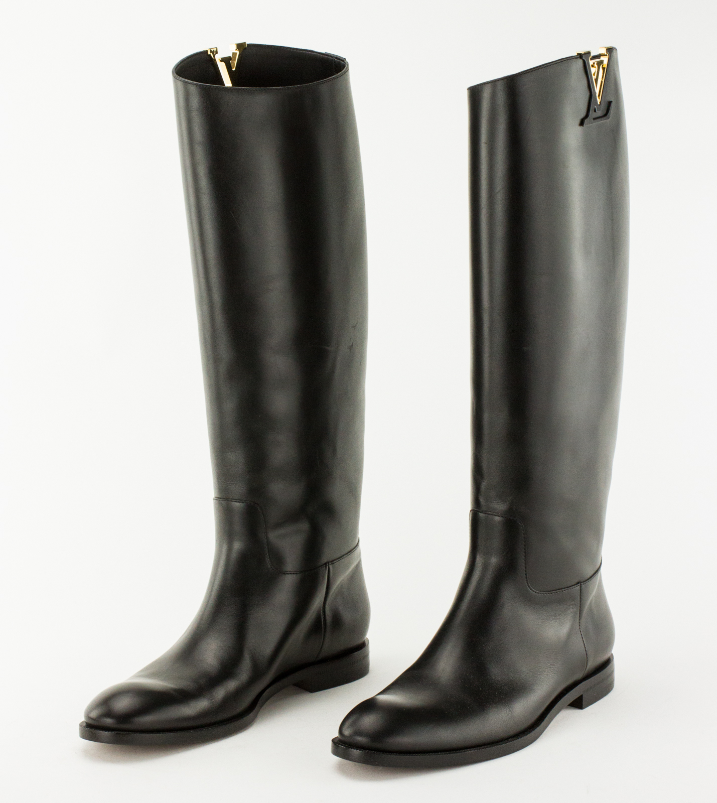 c729347c1fb2 Details about LOUIS VUITTON Black Leather Heritage Tall Boot with Gold  Accent