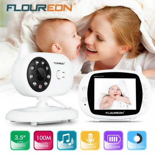 9964edc15b1c FLOUREON 3.5   Digital Wireless 2.4 GHz Baby Monitor LCD Video Nanny  Security Camera Temperature Display 2 Way Talk Night Vision Lullabies Radio