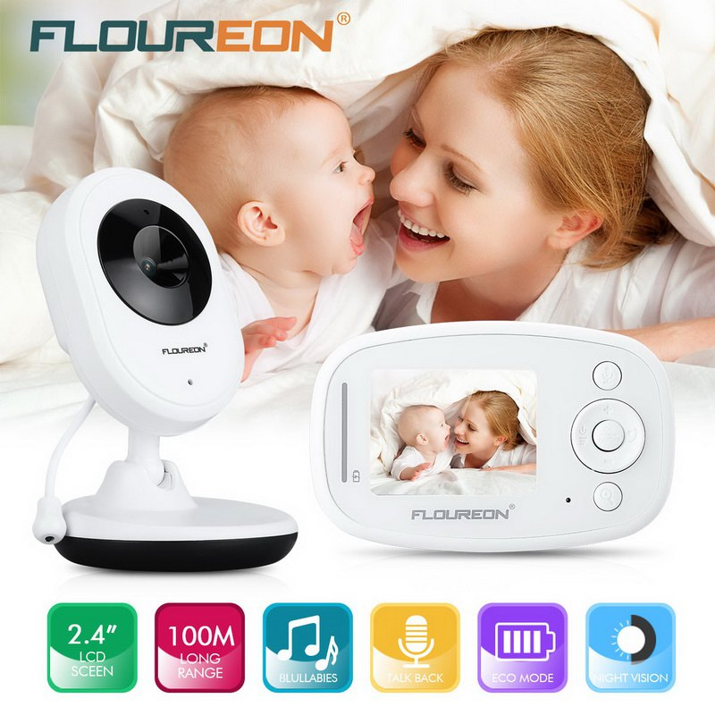 53349908eaf1 FLOUREON 2.4   Digital Wireless 2.4 GHz Baby Monitor LCD Video Nanny  Security Camera Temperature Display 2 Way Talk Night Vision Lullabies Radio
