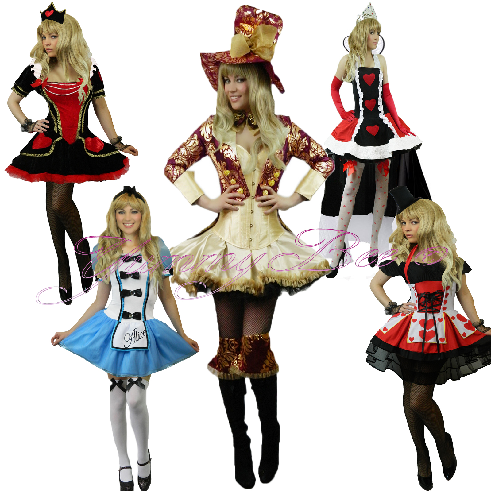 large image  sc 1 st  eBay & Yummy Bee Fancy Dress Costume Alice Wonderland Womens Queen Mad ...