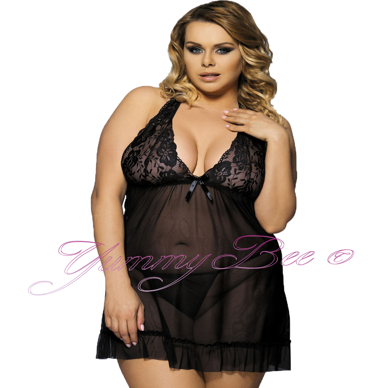 f81685a7645 Yummy Bee Babydoll Negligee Sexy Lingerie Lace Nightwear Dress Plus ...