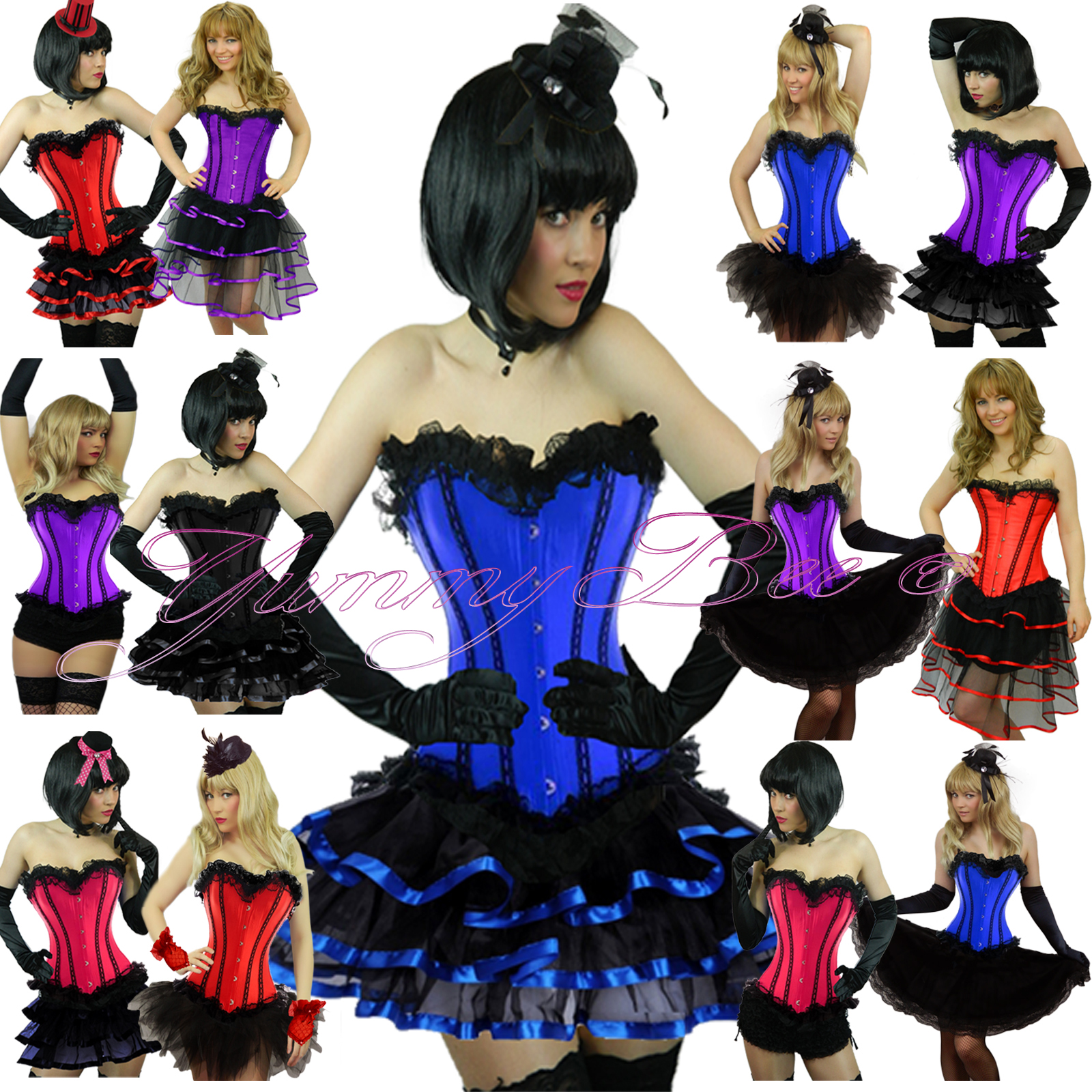 Burlesque Moulin Party Wear Can Tutu Fancy Dress Costume Corset Outfit Style OL