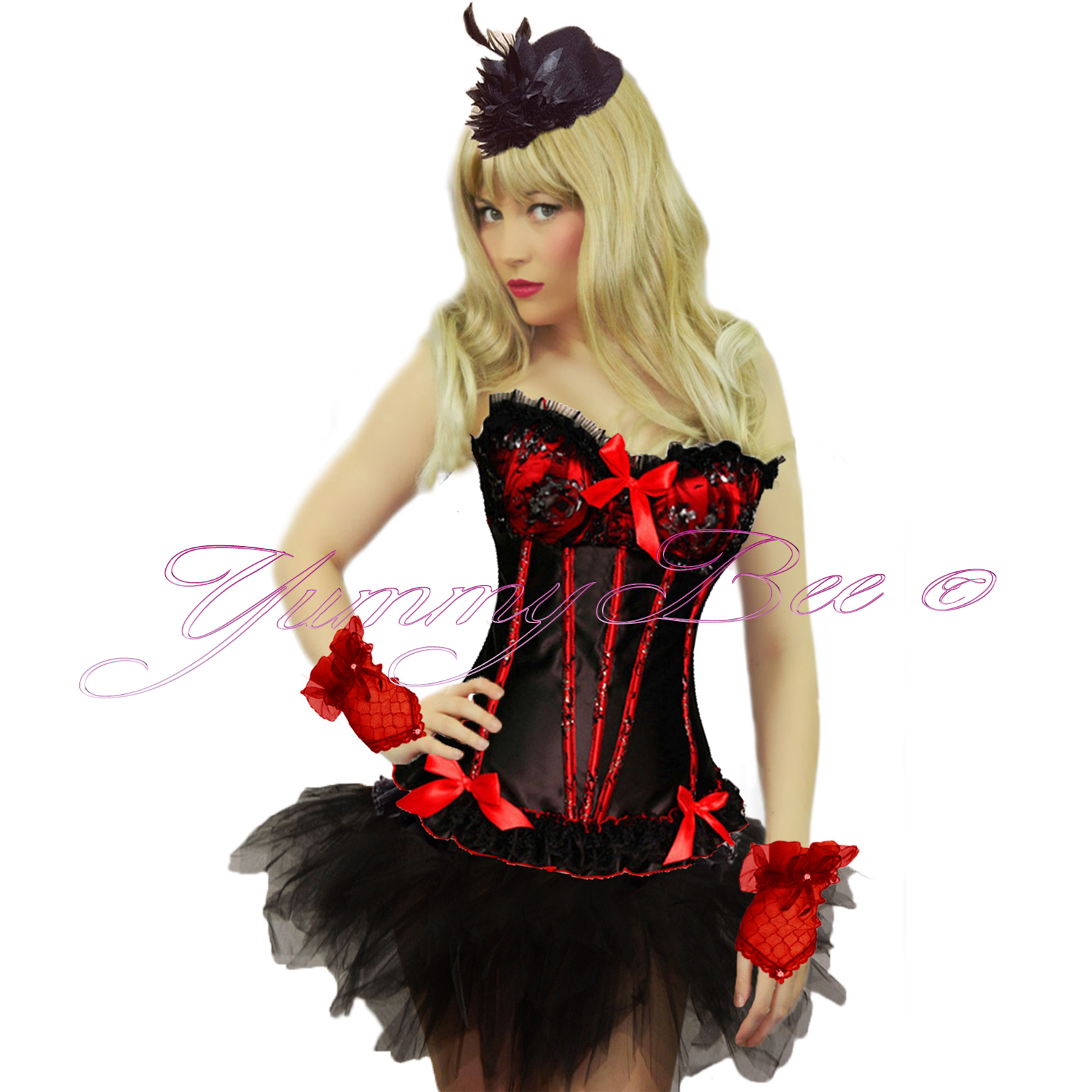 Details about Yummy Bee Burlesque Corset Tutu Fancy Dress Costume Plus Size 6 28 Moulin Can UK