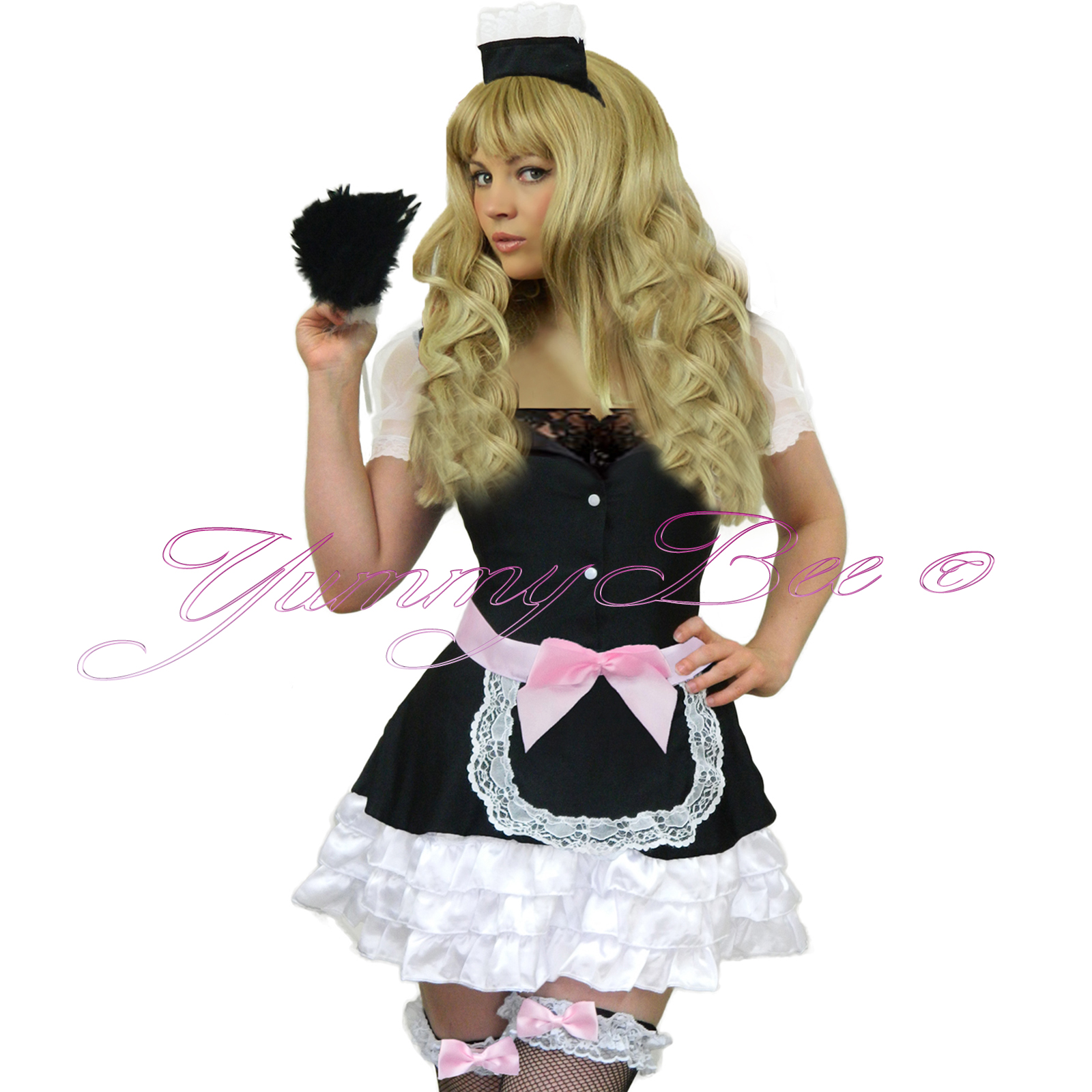 rocky horror style french maid apron and head piece fancy dress theatre
