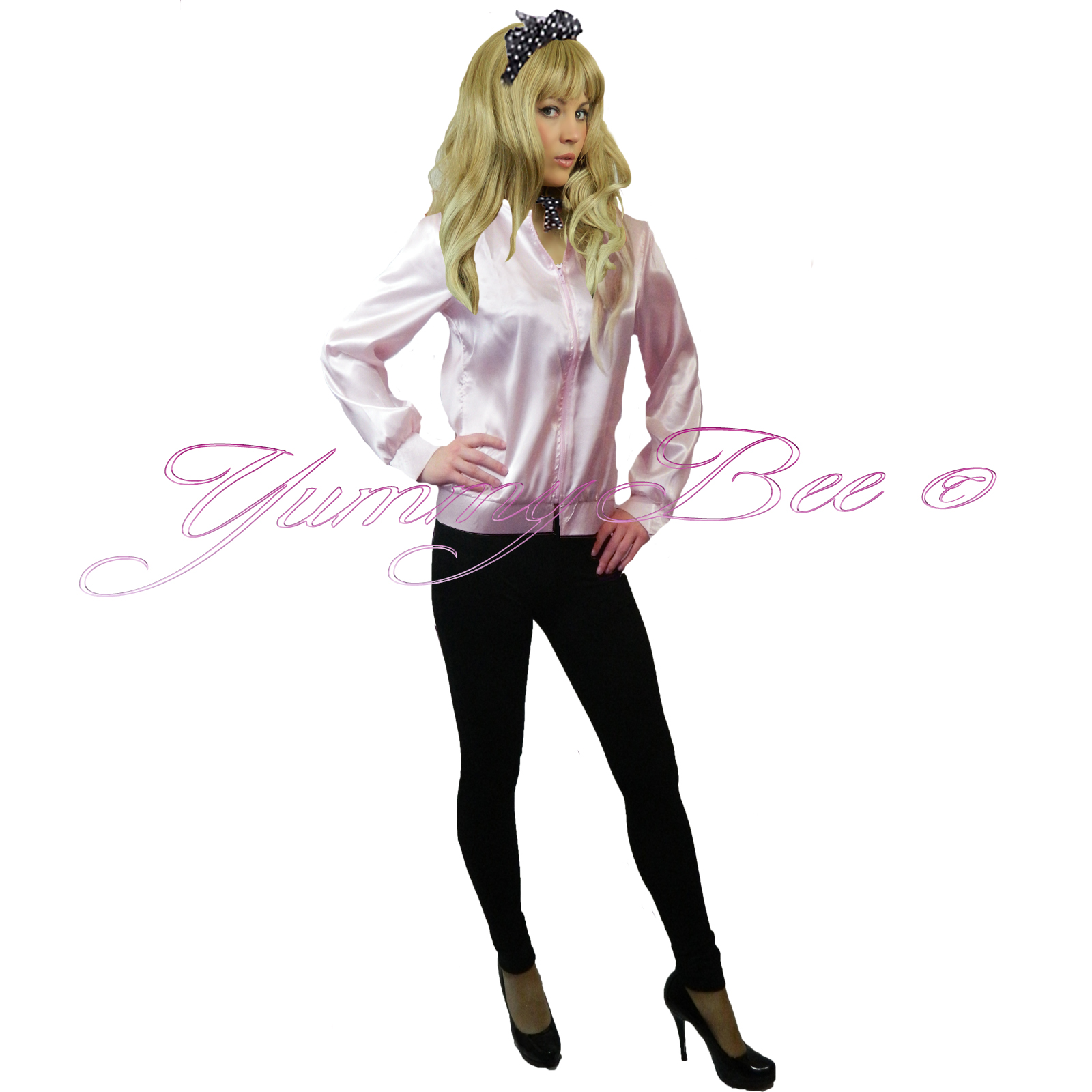 a663010efba Details about Fancy Dress Ladies Jacket Pink Hen 50s Party Womens Plus Size  6-18 + FREE Scarf