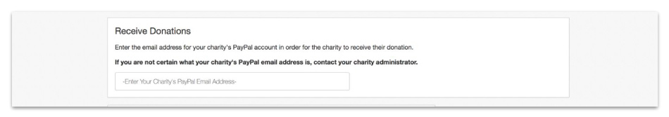 Receive Donations by entering your PayPal account