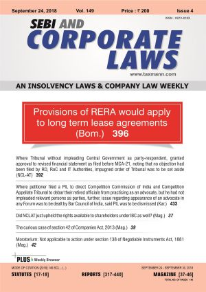 SEBI and Corporate Laws - A Complete Coverage on Company and Insolvency Laws with 5 Daily e-Mail Services