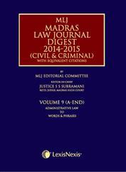 Madras Law Journal Digest 2014-2015 (Civil & Criminal)- with equivalent citations; Vol. 9