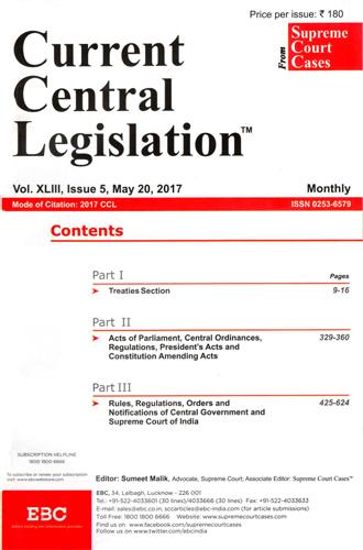 Current Central Legislation - CCL