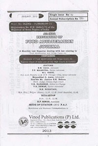 Prevention of Food Adulteration Journal (F.A.J) (Monthly)