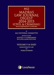 Madras Law Journal Digest 2014-2015 (Civil & Criminal)- with equivalent citations; Vol. 9