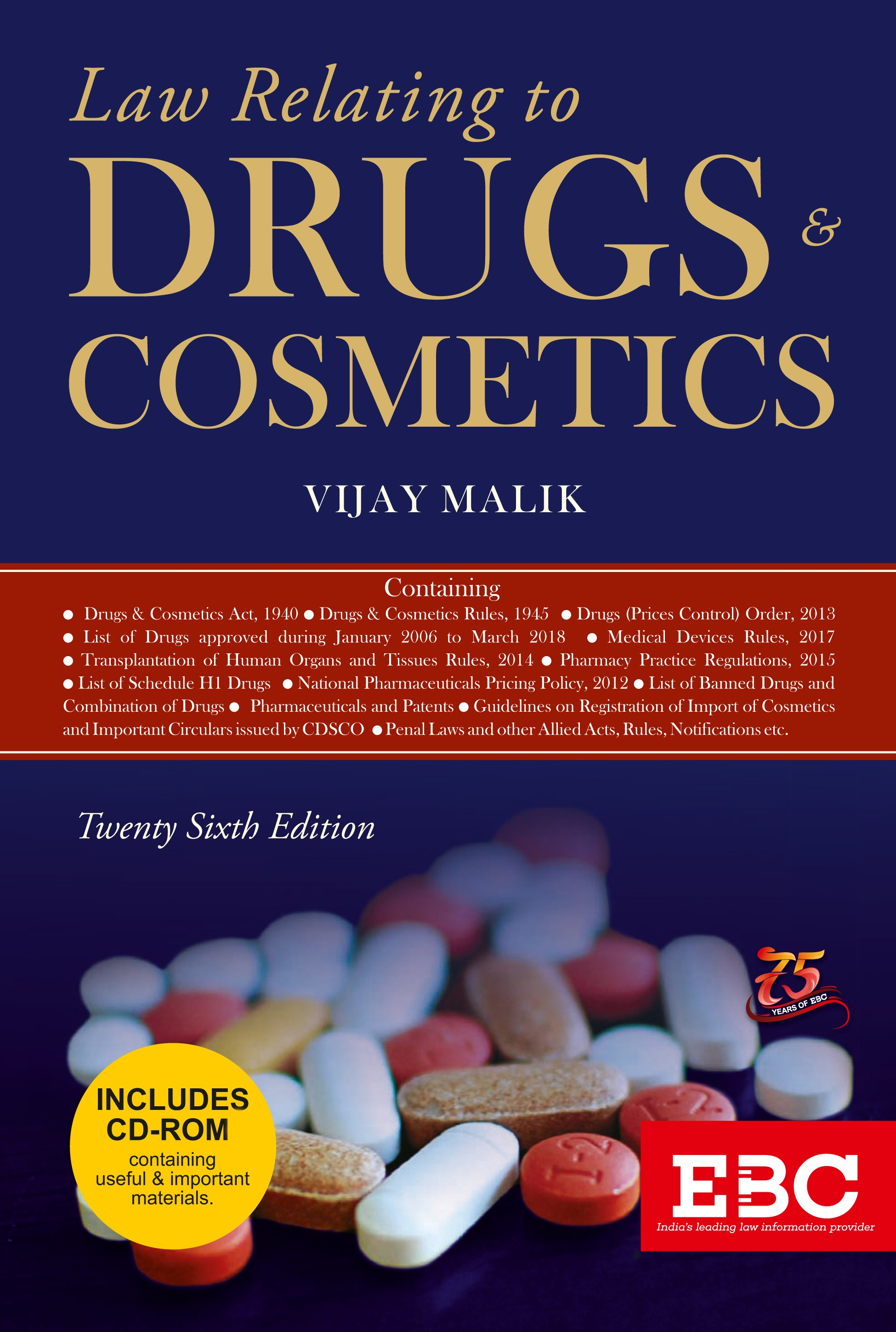 Law Relating to Drugs And Cosmetics With Free CD by  Vijay Malik