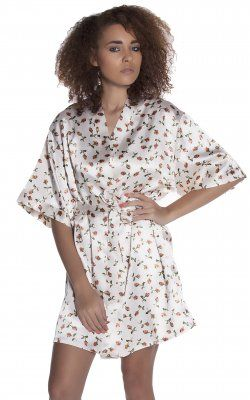 Short Robe - 3076 Cream Print