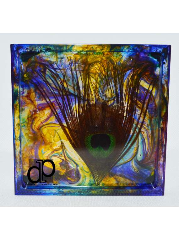 Resin Peacock Eye Square Coaster