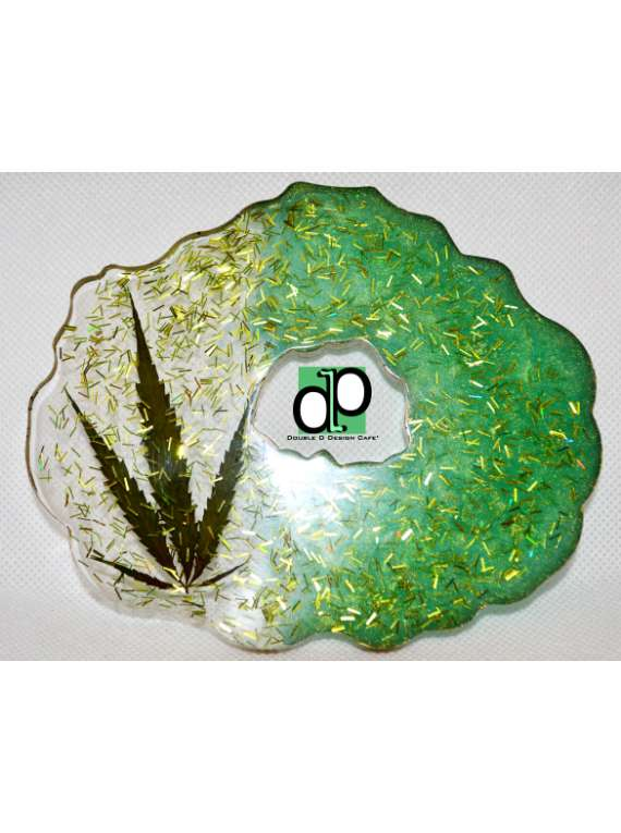 Resin Ganja Leaf Geode Coaster