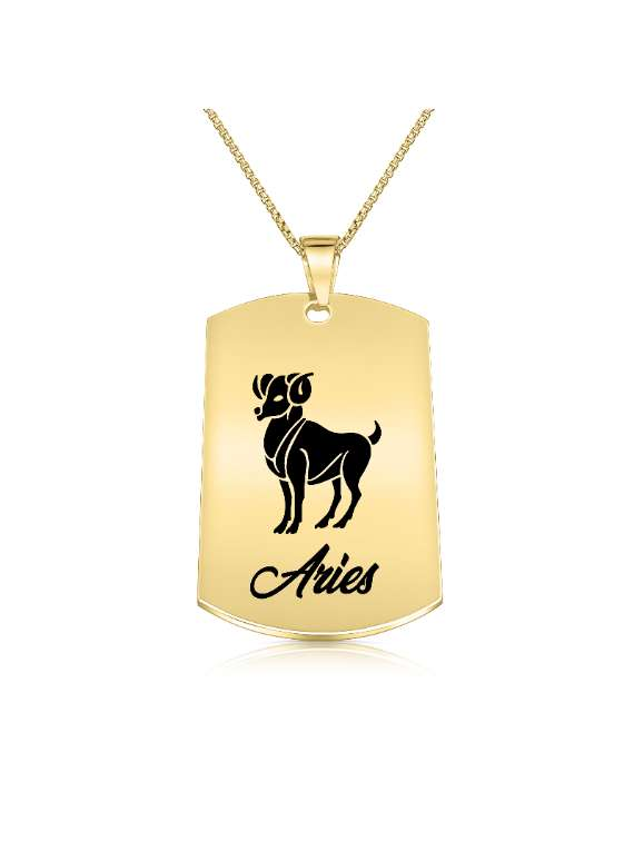 Aries Gold Plated Necklace (military Style) - Zodiac Horoscope Sign Jewelry