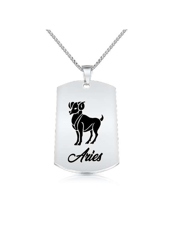 Aries Nickel Plated Necklace (Military Style) - Zodiac Horoscope Sign Jewelry