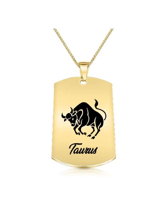 Taurus Gold Plated Necklace (military Style) - Zodiac Horoscope Sign Jewelry