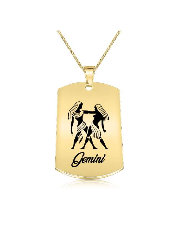 Gemini Gold Plated Necklace (Military Style) - Zodiac Horoscope Sign Jewelry