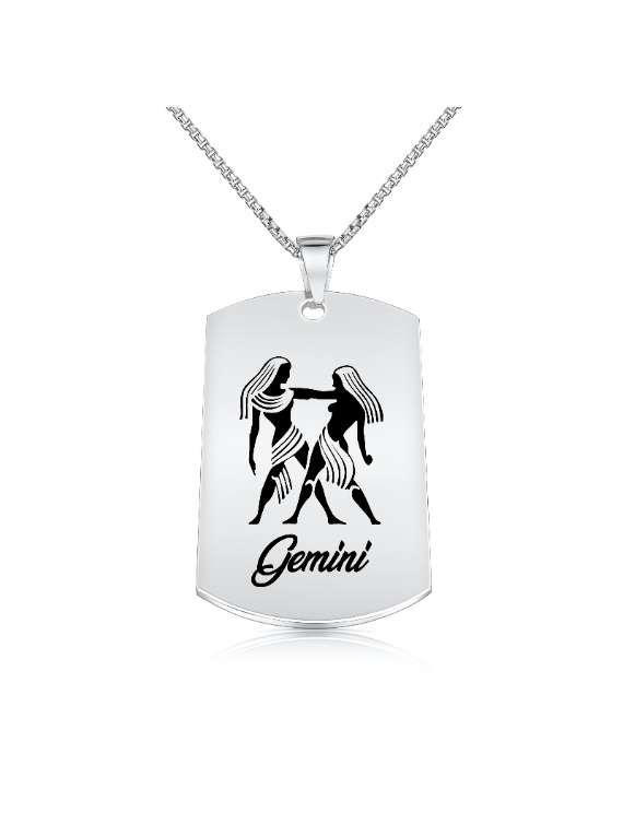 Gemini Nickel Plated Necklace (Military Style) - Zodiac Horoscope Sign Jewelry