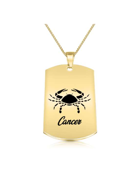 Cancer Gold Plated Necklace (Military Style) - Zodiac Horoscope Sign Jewelry