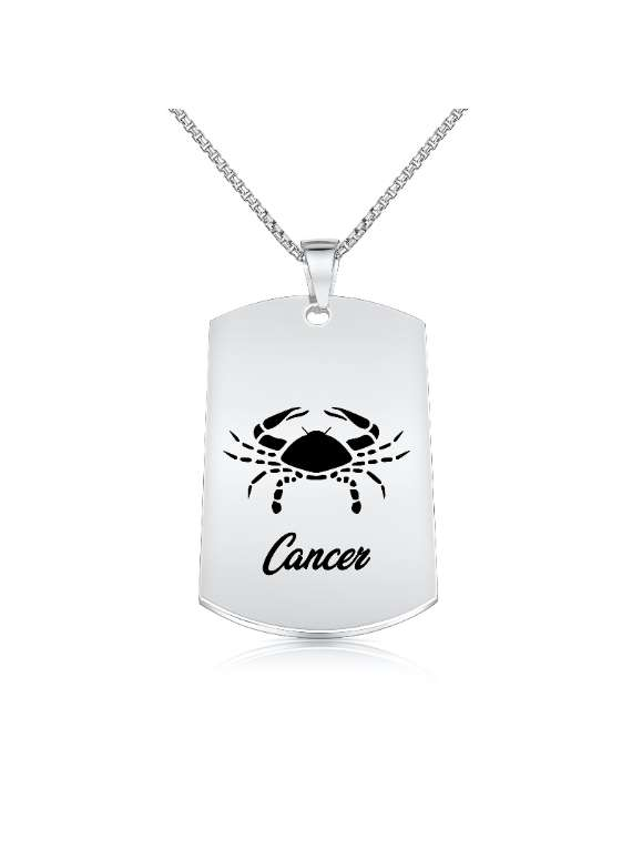 Cancer Nickel Plated Necklace (military Style) - Zodiac Horoscope Sign Jewelry