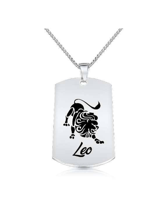 Leo Nickel Plated Necklace (Military Style) - Zodiac Horoscope Sign Jewelry