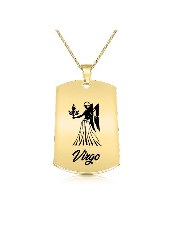 Virgo Gold Plated Necklace (Military Style) - Zodiac Horoscope Sign Jewelry