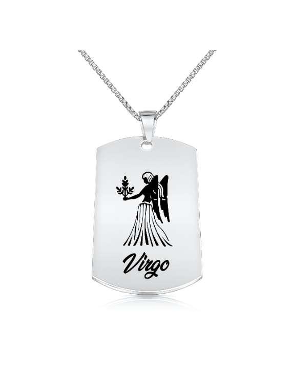 Virgo Nickel Plated Necklace (Military Style) - Zodiac Horoscope Sign Jewelry