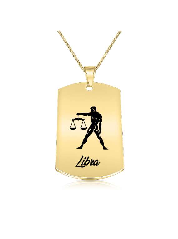 Libra Gold Plated Necklace (Military Style) - Zodiac Horoscope Sign Jewelry