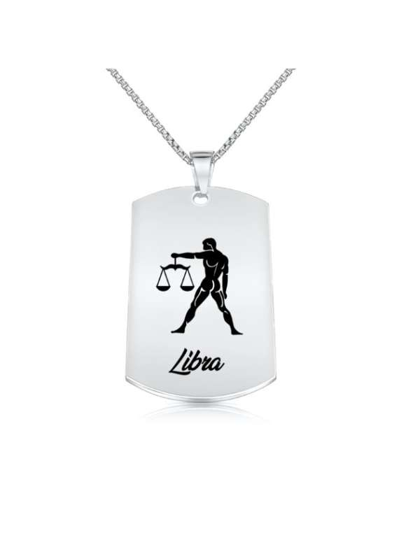 Libra Nickel Plated Necklace (Military Style) - Zodiac Horoscope Sign Jewelry