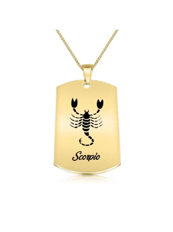 Scorpio Gold Plated Necklace (military Style) - Zodiac Horoscope Sign Jewelry
