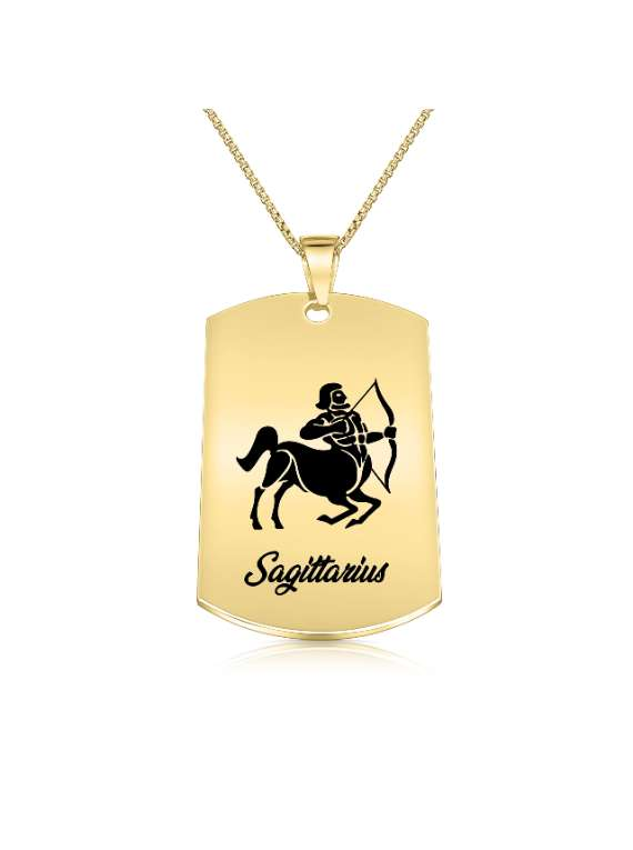 Sagittarius Gold Plated Necklace (military Style) - Zodiac Horoscope Sign Jewelry