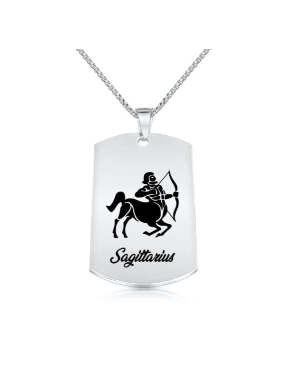 Sagittarius Nickel Plated Necklace (military Style) - Zodiac Horoscope Sign Jewelry