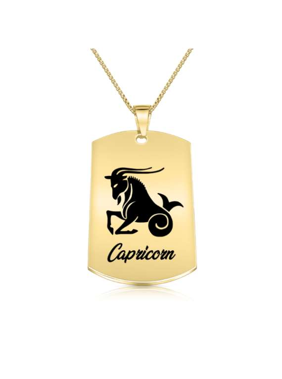 Capricorn Gold Plated Necklace (military Style) - Zodiac Horoscope Sign Jewelry