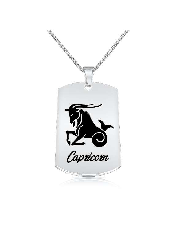 Capricorn Nickel Plated Necklace (military Style) - Zodiac Horoscope Sign Jewelry