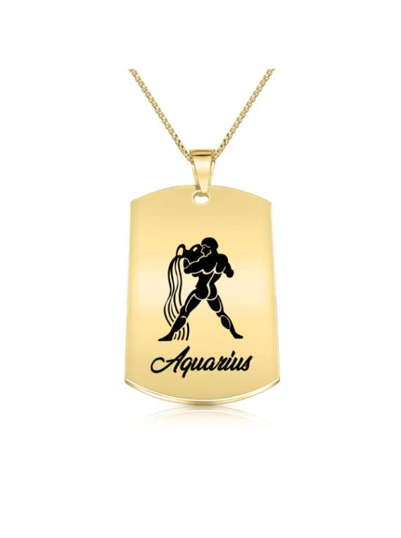 Aquarius Gold Plated Necklace (military Style) - Zodiac Horoscope Sign Jewelry