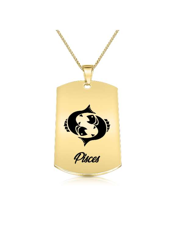 Pisces Gold Plated Necklace (military Style) - Zodiac Horoscope Sign Jewelry